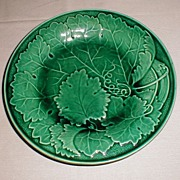 Lovely Vintage Green Majolica Plate, Leaf Design