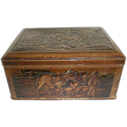 """SALE Large Lovely Antique Mustard Tin Embossed """"The Reckoning"""""""