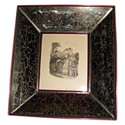 SALE Set of 4 Mirrored Frames with Fashion Prints, Paul L. Baruch