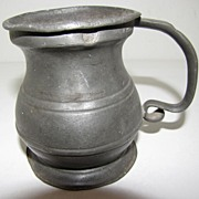 REDUCED Early 19th Century Pewter Bulbous (Bellied) Measure, Half Pint