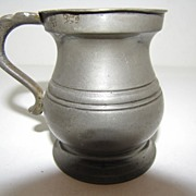 REDUCED Ca 1850 British Bulbous (Bellied) Pewter Measure, 1 Gill