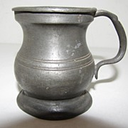 REDUCED Ca 1880 British Bulbous (Bellied) Pewter Measure, 1 Gill