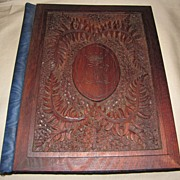 SALE Lovely Victorian Carved (Punched) Wood Stationary Folder (Folio)