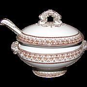 SALE Mid 19th Century Brown Transferware Sauce Tureen w/Ladle