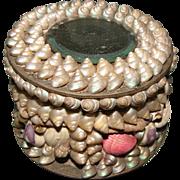 SALE Lovely Victorian Shell Powder Box w/Mirror, Souvenir