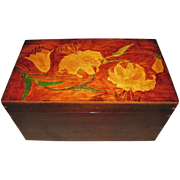 REDUCED Gorgeous Large Wooden Box Painted Lid w/ Lilies