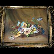 REDUCED Lovely Framed Painting of Pansies, Local Artist, Ginger Tyler, 1973