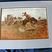 SALE Nicely Matted Print by C. M. Russell, Rider of a Rough String