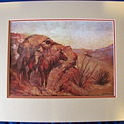 SALE Matted Print, Western Art, APACHE, by Frederic Remington