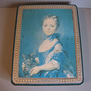 SALE Lovely Early British Biscuit Tin, Peek Frean, Girl With a Kitten (Cat)