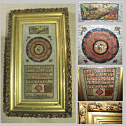 SALE Antique Needlework Framed Under Glass, Sampler & Embroidery