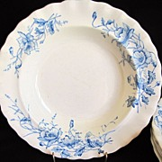Lovely Set of 5 Blue & White Soup Plates, Kent, K & Co.