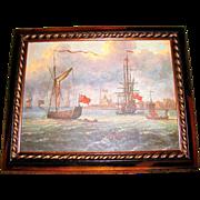 REDUCED Lovely Framed Seascape Print on Canvas