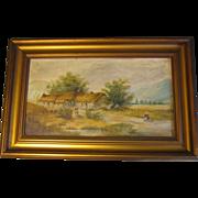 SOLD Lovely Oil Painting, Rural English Cottage Landscape, Framed
