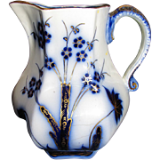 Lovely Antique Flow Blue Pitcher, REEDS & FLOWERS