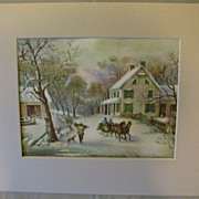 SOLD Vintage Matted Currier & Ives Print, American Homestead Winter