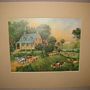 SOLD Vintage Matted Currier & Ives Print, American Homestead Summer