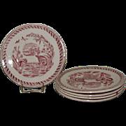 SALE Antique Red Transferware Child's Tea Plate, WATER HEN
