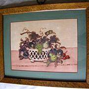 Lovely Vintage Still Life Print, Bird's Eye Maple Frame