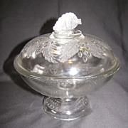 SALE Early American Pattern Glass (EAPG) Covered Compote, BARBERRY