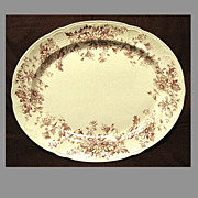 SALE Lovely Red Transferware Platter, ASTER, K & Co.