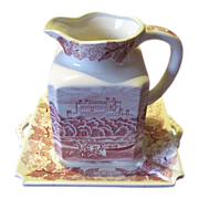SALE Lovely Red Transferware Pitcher & Tray, Unmarked