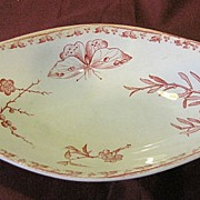 SOLD Lovely Oval Red Transferware Dish, U & C France, CARMEN