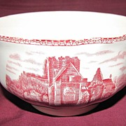 "SALE Red Transferware Finger Bowl, ""Old Britain Castles"", Johnson Bros."