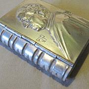 Vintage Tiny Silver - Tin Box, Book Shaped, Pope Pius XI