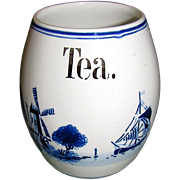 """SALE 1920""""s Delft Blue & White Barrel Shaped Tea Canister, Germany"""