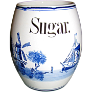 """SALE 1920""""s Delft Blue & White Barrel Shaped Sugar Canister, Germany"""