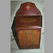 SALE Lovely Faux Wood Grain British Chocolate Tin Salt Box