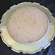 Vintage Bread Board in Silver-Plate Serving Plate, Unmarked