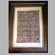Early 19th Century Alphabet Sampler, Framed Under Glass
