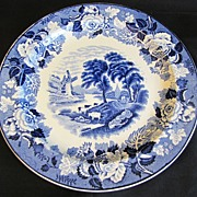 SALE Lovely Blue Transferware Plate Woods Ware ENGLISH SCENERY