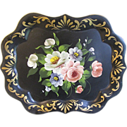 SALE Lovely Vintage Black Floral Tole Tray, Chippendale Edge