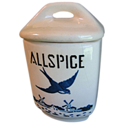 SALE 1920-30 BlueBird-Delft Spice Canister, YVONNE, Czechoslovakia, ALLSPICE
