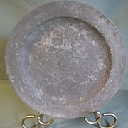 REDUCED Antique Pewter Plate, British, Unreadable Marks