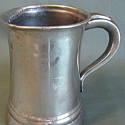 REDUCED Circa 1850 Pewter Straight-Side (Tall) Half Pint Measure, LOWE