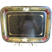 Early Rolled Edge Black Tole Tray, Rectangular, Floral Border