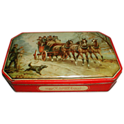 SALE Vintage George Horner Toffee Tin, Stage Coach Horses