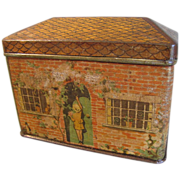 SALE Great Juvenile Biscuit Tin, Brick House, 19th Century
