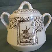 Lovely Brown Transferware Child's Sugar Bowl AVONA ca 1881 H.S.&H