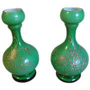 SOLD Lovely Pair of Small Glass Bud Vases, Green Cased w/ Gilded Decoration