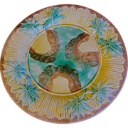 Antique Etruscan Mottled Center Bamboo Majolica Plate, 8""