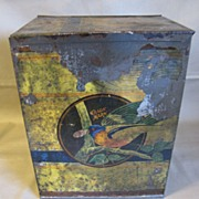 SALE Large Early Tin (Cracker or Biscuit), Beautiful Bird Decoration