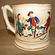 SALE Antique Staffordshire Mug Raised Enameled Design, FROG Surprise