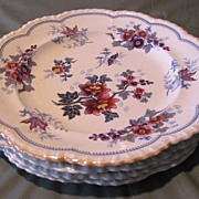 Group of 4 Early Polychrome Plates, JOHAN FLOWERS, J.W.R. CA 1814-30