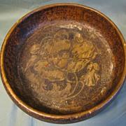 SALE Lovely Pyrography Nut Bowl, Poppy, Flemish Art