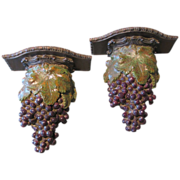 SALE Pair of Large Syroco Wall Shelves (Sconces), Clusters of Grapes, Murobello